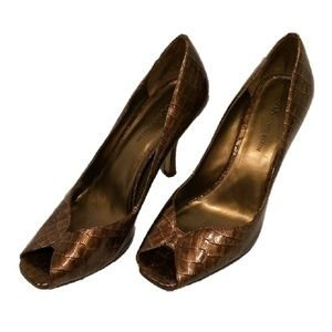 Anne Klein Brown Snake Skin Brown Peep Toe Shoes